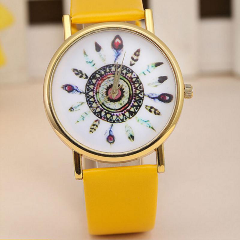 Hodinky indian, indiánský motiv, žluté hodinky