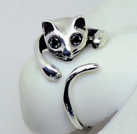 Prsten catm kočka, silver.