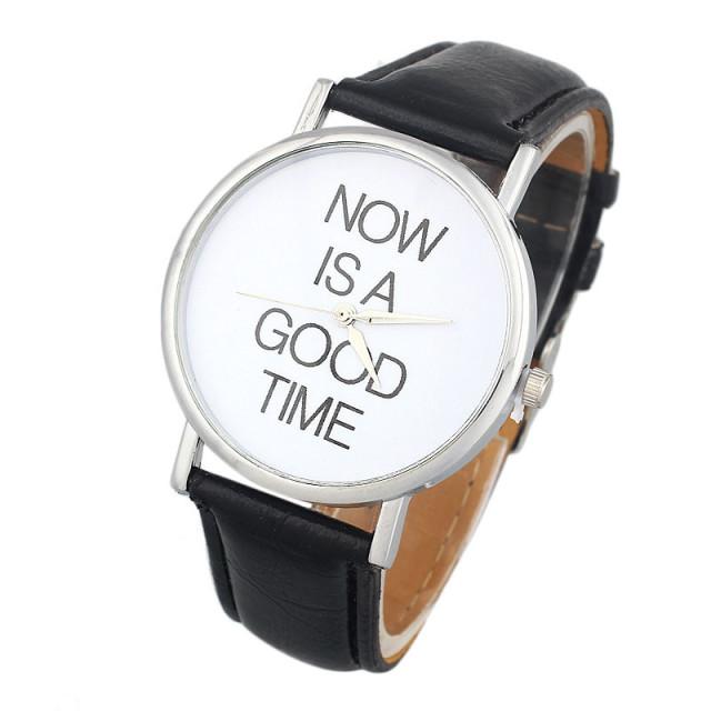Hodinky now is a good time, hodinky teď je pravý čas, proti nedochvilnosti, černé