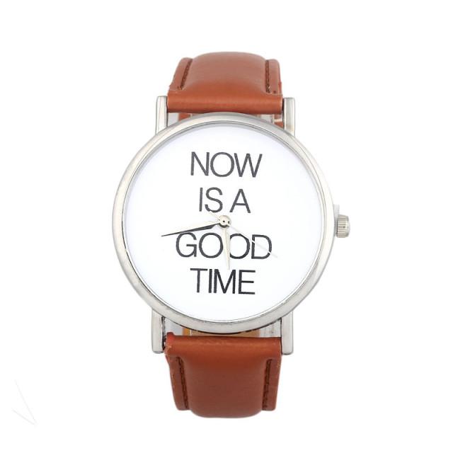 Hodinky now is a good time, hodinky teď je pravý čas, proti nedochvilnosti, hnědé