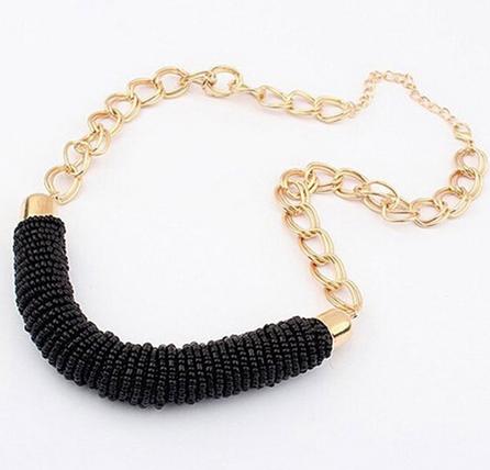 Korálkový náhrdelník, perličky, korálky, černý, černá